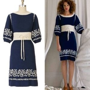 Anthro Lia Molly Embroidered Sweater Dress